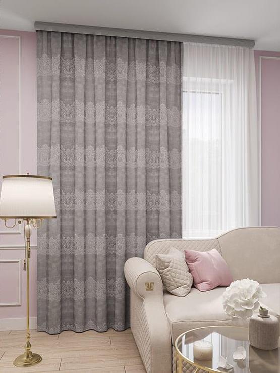 Штора Амелия серо-розовая