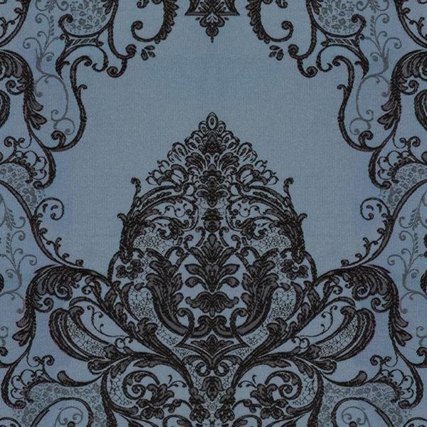 Штора Монако синяя с черной вышивкой